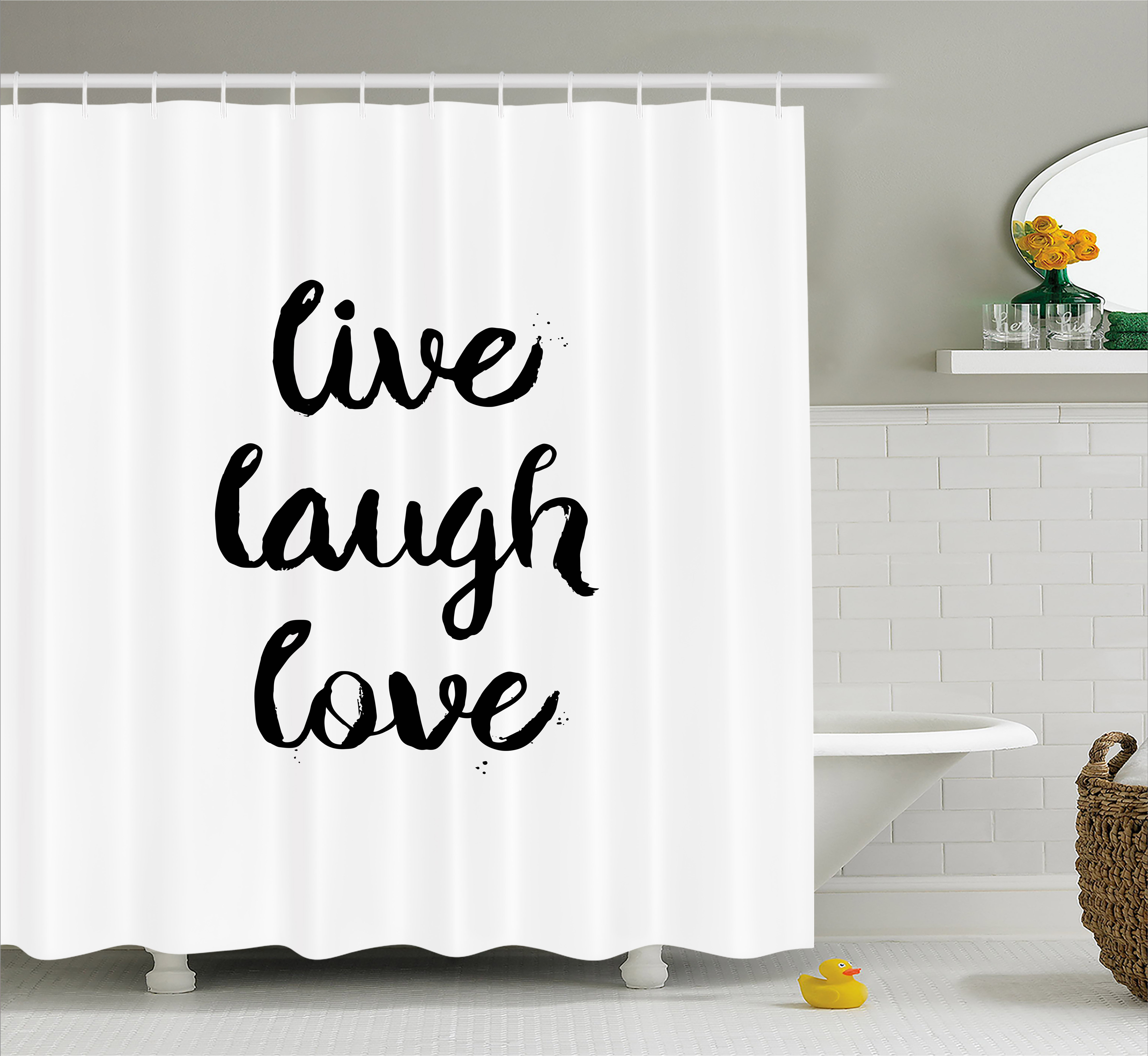 Live Laugh Love Shower Curtain Inspirational Slogan For Boosting The Motivation Of People In Monochrome Fabric Bathroom Set With Hooks 69W X 70L Inches