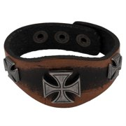 Three Maltese Crosses Brown Leather Cuff Bracelet