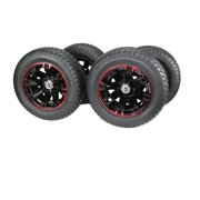 (Set of 4) 215/50-12 Glossy BLACK/RED Aluminum Golf Tire Wheel Assemblies