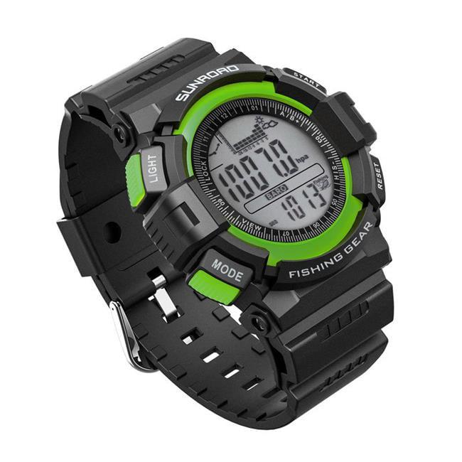 Sunroad FR711A Fishing Barometer Watch, Black & Green