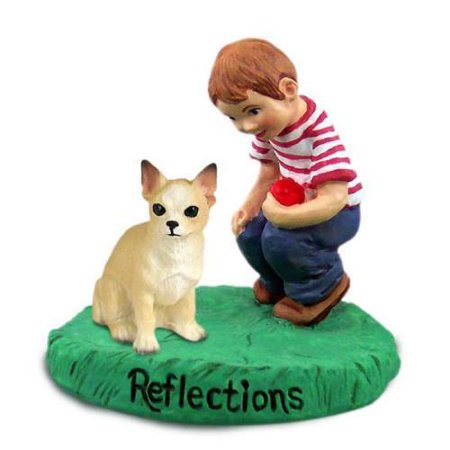 RBD06B CON Chihuahua Tan & White Reflections w/Boy Figurine