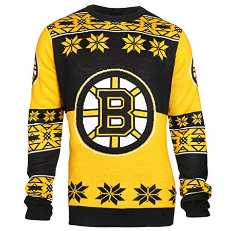 NHL Boston Bruins Boys 8-20 Long Sleeve Ugly Sweater, X-Large (18), Black/Yellow for $<!---->