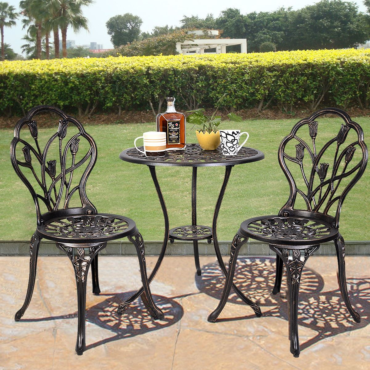 - Outdoor Patio Bistro Set Tulip Design In Antique Copper - Walmart.com