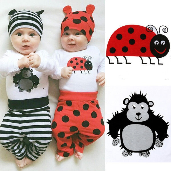 0-18M 3PCS Set Newborn Baby Boys Girl Tops Rompers Long Pants Hat Outfit Clothes