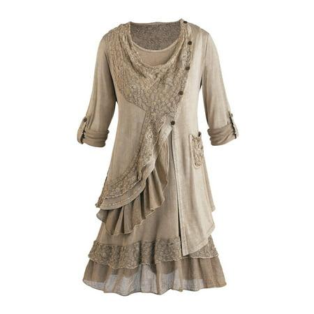 Women's Tunic Top Set - Heavenly Lace 2 Piece Blouse And Vest 3 Piece Satin Vest