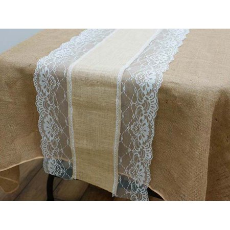 Efavormart COUNTRY WESTERN Fine Rustic Burlap Runner w/ Lace Natural Tone & White](Burlap Table Runner With Lace)