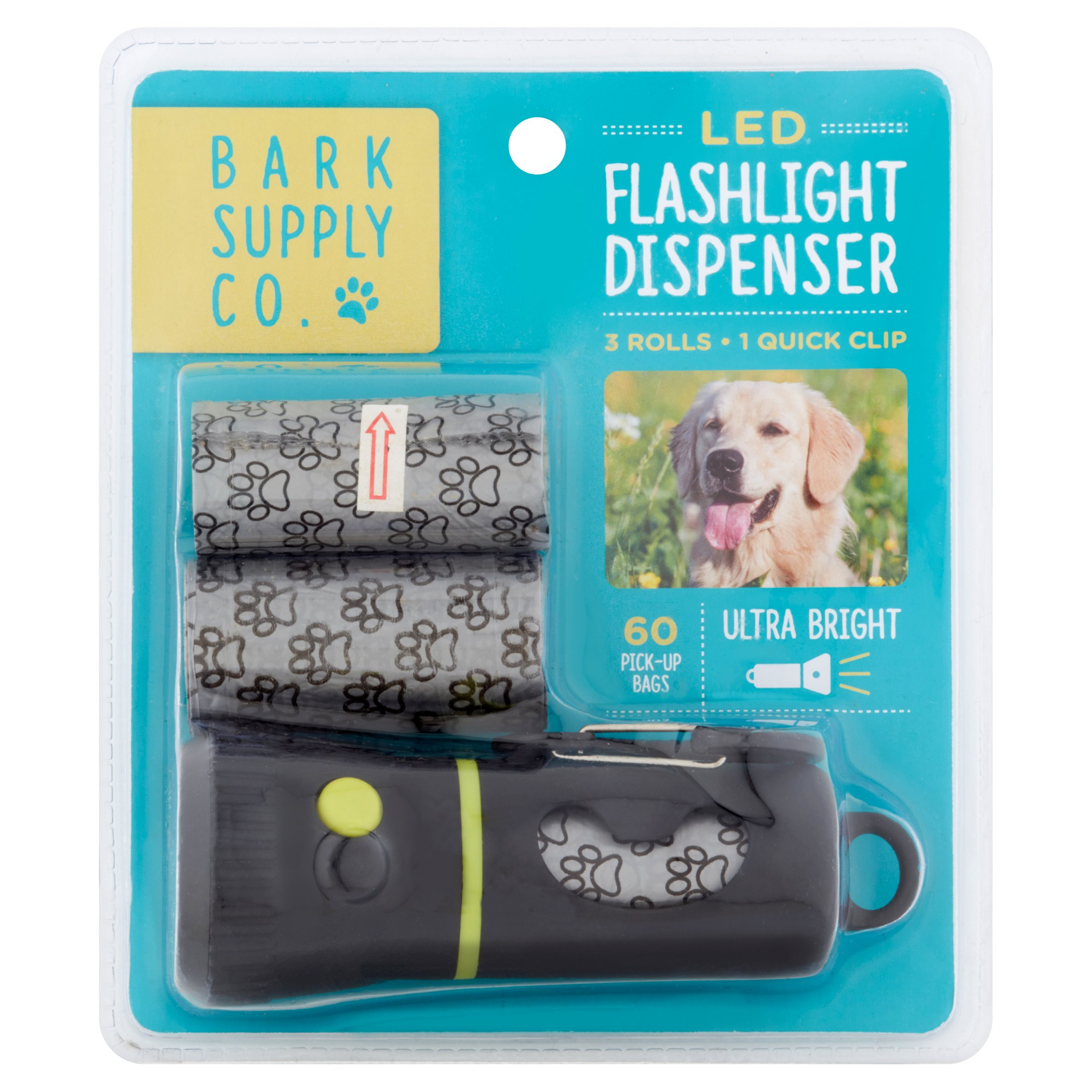 Poop Bags with LED Flashlight, 60 pick-up poop bags, Bark Supply Co. w/ 2 Refill Poop Bag