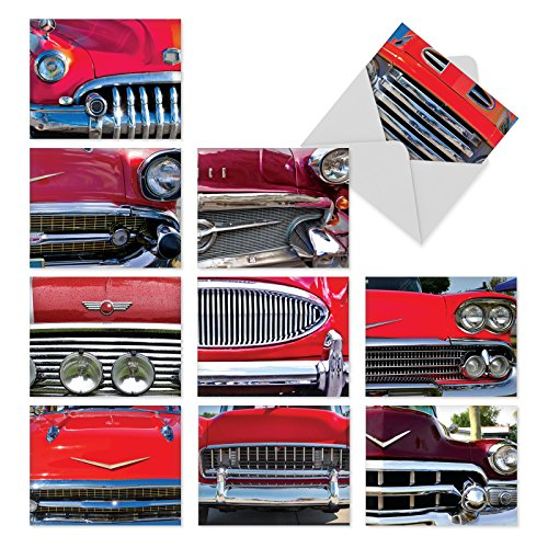 'M3120 CAR AND GRILLE' 10 Assorted All Occasions Note Cards Rev Up the Engines for the Classic Car Buff with Envelopes by The Best Card Company