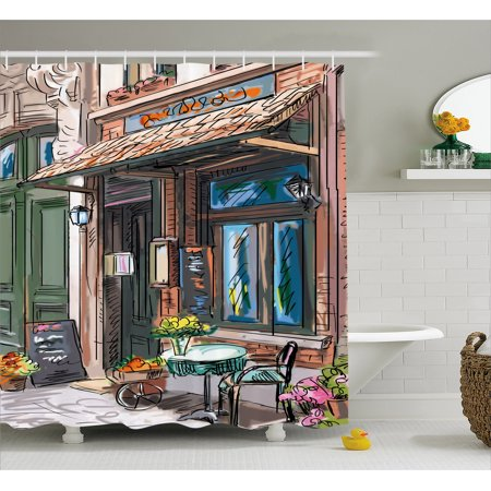 City Shower Curtain, Street in Paris Cafe Illustration Holiday Theme Summer Season Eating Drinking Cartoon, Fabric Bathroom Set with Hooks, Multicolor, by Ambesonne - Holiday Shower Curtain