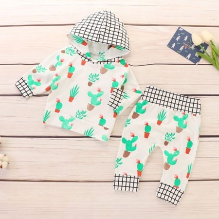 Newborn Toddler Baby Girl Winter Outfits Cactus Clothes Hoodie Tops+Pants Set](Cactus Outfit)