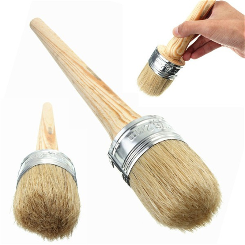 3pcs/set Round Bristle Chalk Paint Wax Brush Wooden Handle 50mm Oil Paint Painting Artist Waxing Furniture