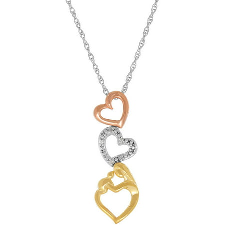 Mother And Child Diamond Accent Triple Open Heart Tri Color Gold Over Silver Pendant  18