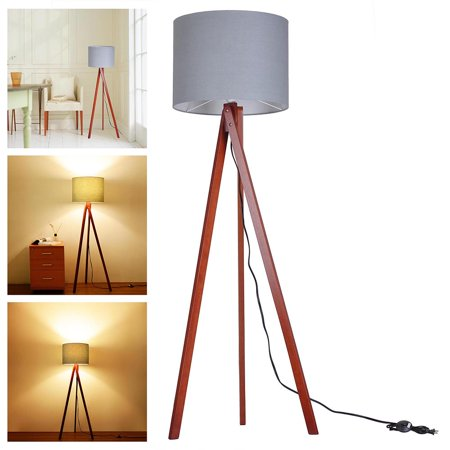 Yescom 572quot wooden tripod floor lamp gray cotton fabric for Oak floor lamp stand
