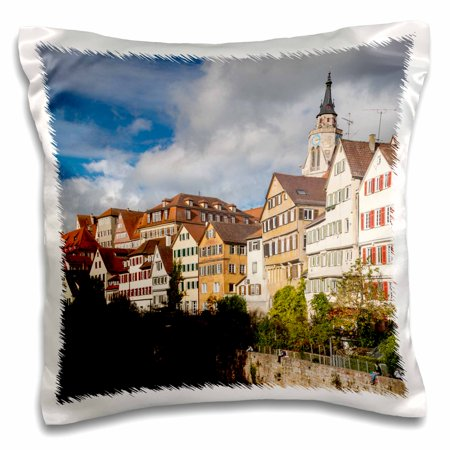 - 3dRose Germany, Tubingen, old town buildings along the Neckar River 01 - Pillow Case, 16 by 16-inch