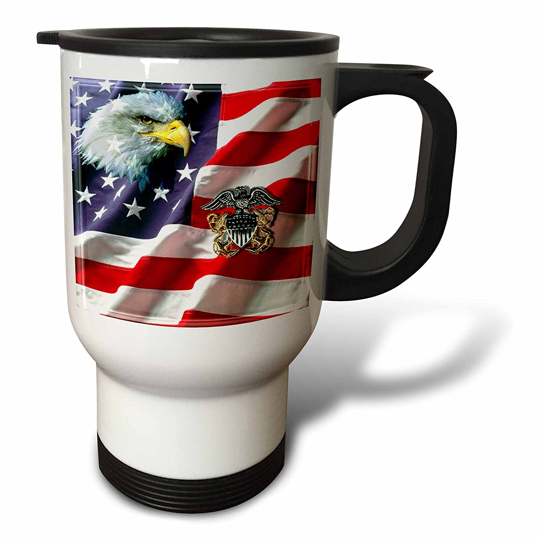 3dRose US Navy Officer Crest, Travel Mug, 14oz, Stainless Steel