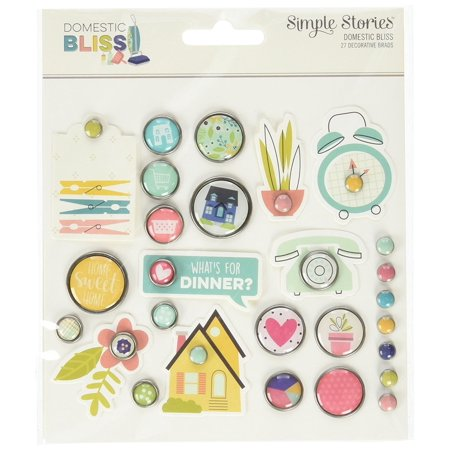 Making Memories Decorative Brads - Stories 7820 Domestic Bliss Decorative Brads, Beautiful designs and home filled sentiments perfect for scrapbooking card making planning and home decor.., By Simple