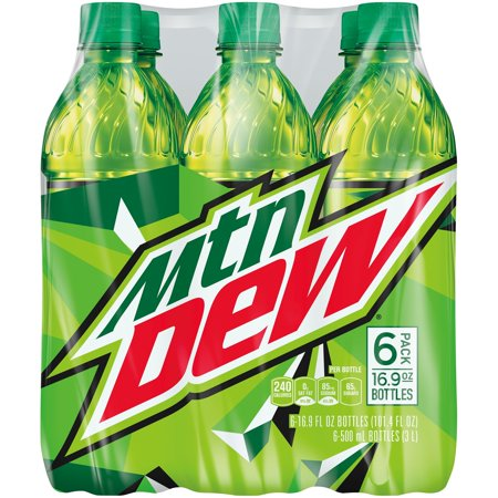 Mountain Dew Soda, 16.9 Fl Oz, 6 Count (Pack of 4)
