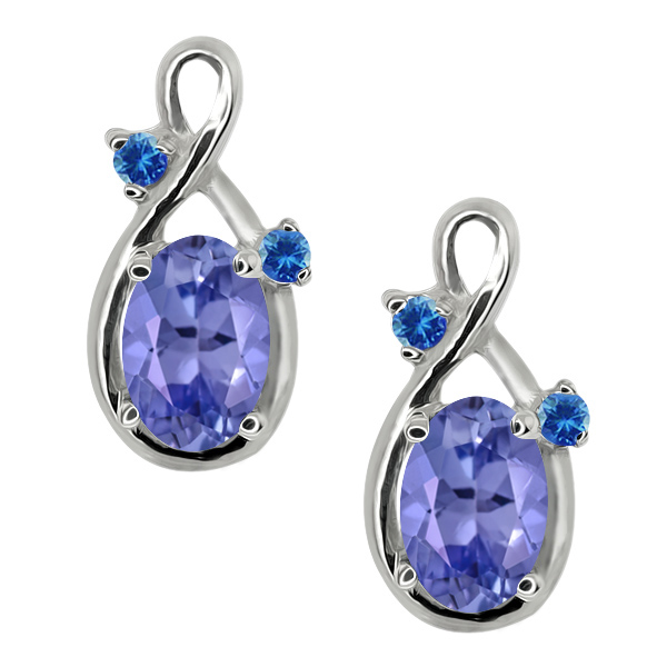 0.98 Ct Oval Blue Tanzanite and Blue Diamond 14k White Gold Earrings