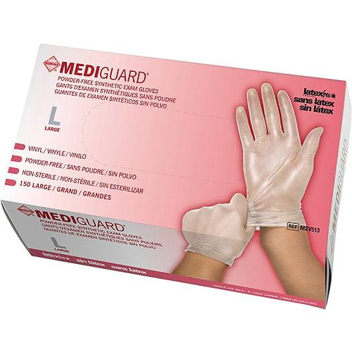 Medline Powder-Free Synthetic Vinyl Exam Gloves, Large, Case of 150
