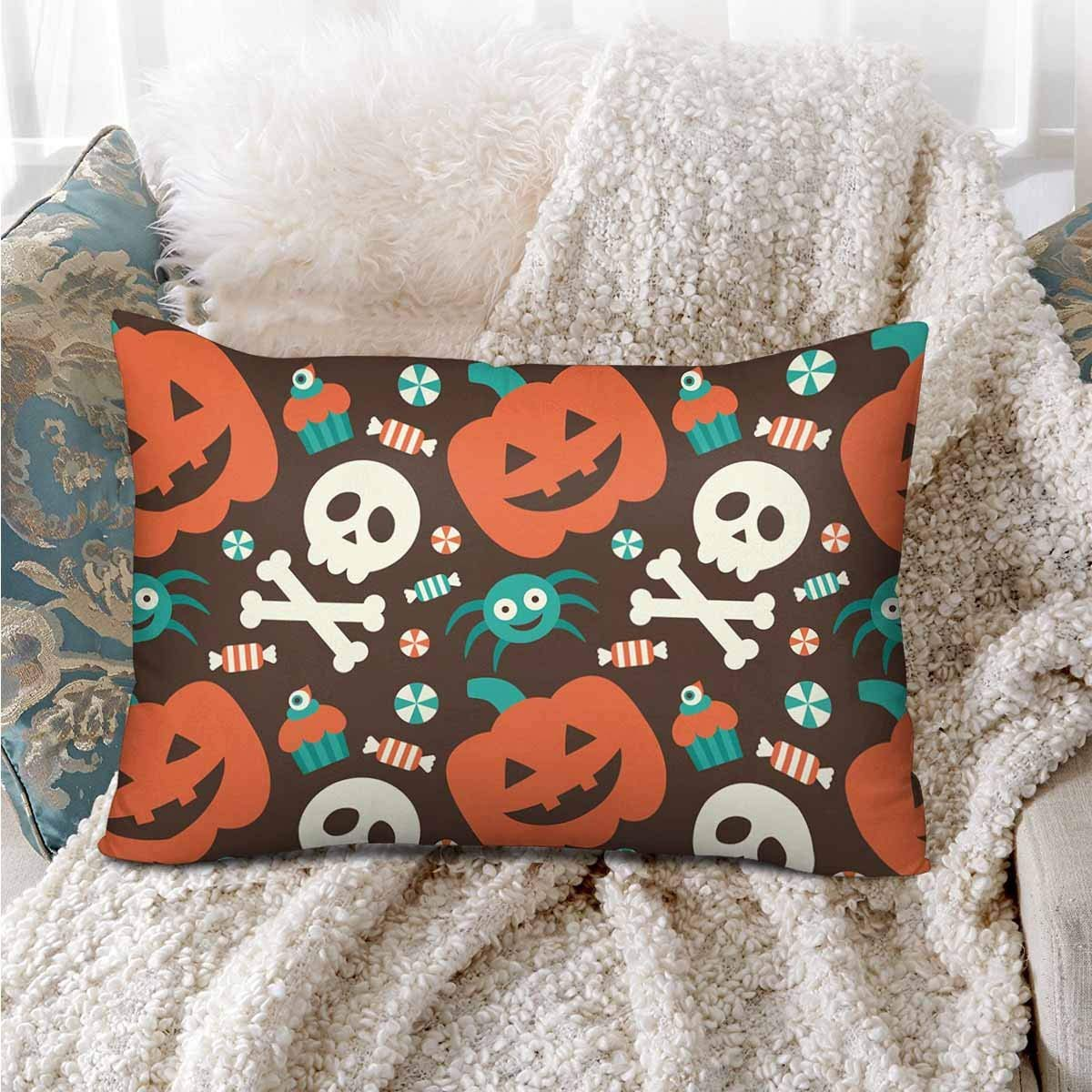 GCKG Halloween Seamless Pattern Pumpkin Skull Spider Candy Pillow Cases Pillowcase 20x30 inches - image 1 of 4