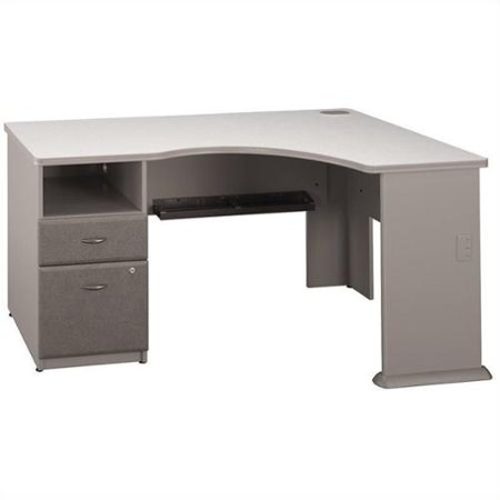Bush BBF Series A 2Dwr Pedestal Corner Desk in Pewter