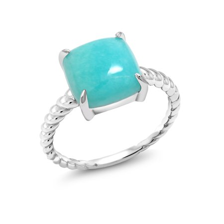 Square Cabochon Sleeping Beauty Green Turquoise 925 Sterling Silver Ring