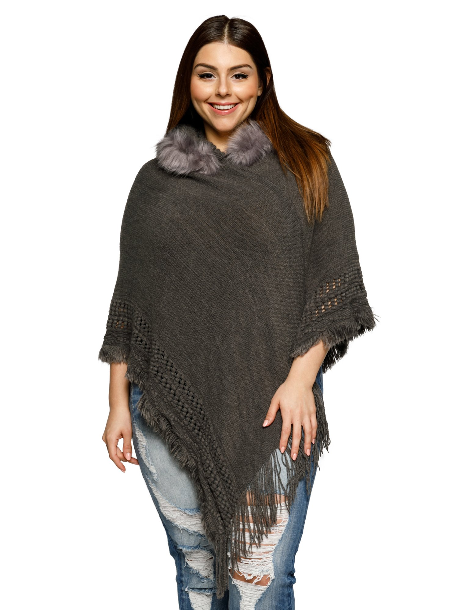 8f9da81c889 Xehar Women s Plus Size Asymmetrical Knit Fringe Faux Fur Trim ...