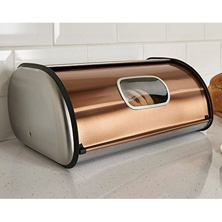 Stainless Bread - Copper & Brushed Stainless Steel Bread Box - Roll Top 2 Loaf Capacity  Bread Box W Window