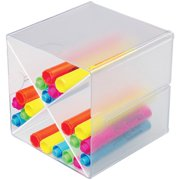 Deflecto-Stackable-Cube-Organizers-Cross-Divider-Clear-6-x-6-x-6-Inches-350201