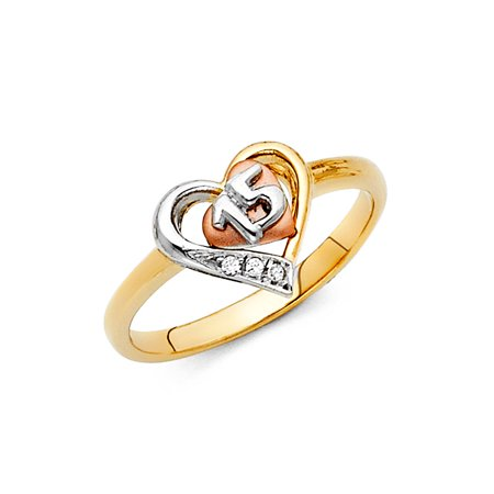 14K Tri Color Solid Gold CZ 15 Years Quinceanera Birthday with Hearts Ring - size 7.5