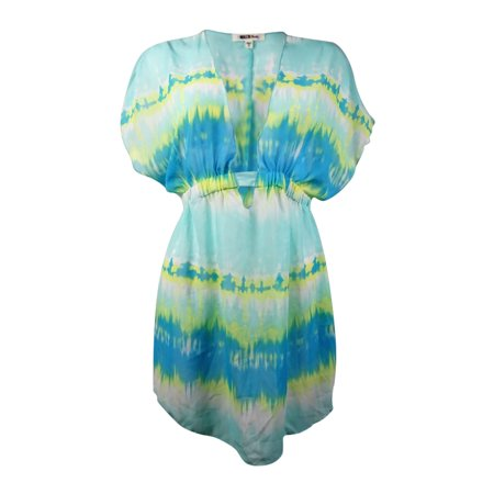 Mermaid Chiffon (Miken Women's Tie-Dyed V-Neck Chiffon Swim Cover (M, Mermaid Aqua) )