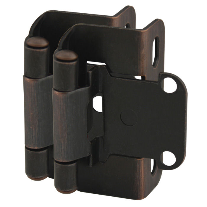 "Cosmas 27550-ORB Oil Rubbed Bronze Partial Wrap Hinge 1/2"" Overlay (Pair)"