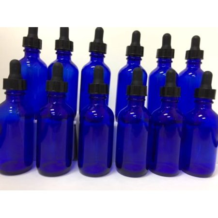 12 - 2oz Blue Glass Bottles with Glass Eye Dropper Dispenser for Essential