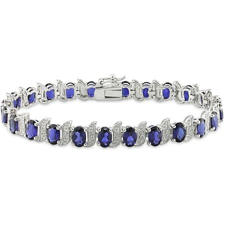 13-1/5 Carat T.G.W. Created Blue Sapphire and Diamond-Accent Sterling Silver Tennis Bracelet, 7