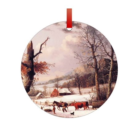 Artist George Henrie Durrie's Gathering Wood for Winter Painting - Double-Sided Round-Shaped Flat Aluminum Christmas Holiday Ornament with a Red Satin Ribbon. Made in the USA! - Painting Christmas Ornaments
