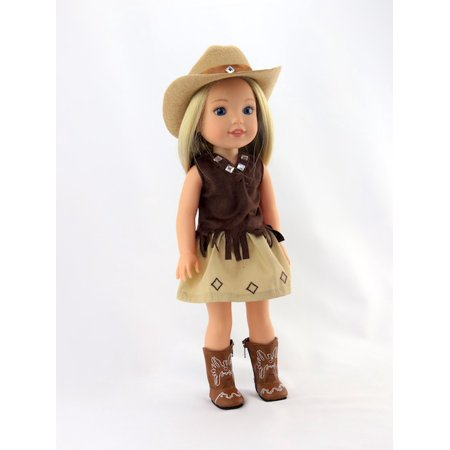 Brown Little Cowgirl with Hat and Boots-Fits 14 Inch Wellie Wisher Dolls | 14 Inch Doll Clothing - Cowgirl With Hat