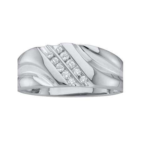 14k White Gold Round Diamond Mens Lightweight 2-row Channel-set Wedding Band 1/8 Cttw - image 1 of 1