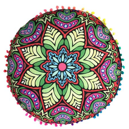 AngelCity 17x17inch Large Round Polyester Fiber Mandala Printed Pillows Case Meditation Floor Cushions Throw Pillows Covers ()