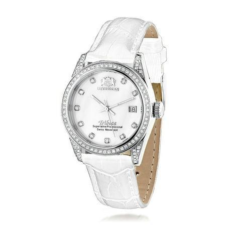 Womens Tribeca Diamond Swiss Quartz Watch Stainless Steel 1.5ct w White MOP & Leather Band