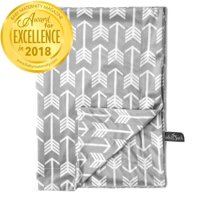 """Kids N' Such Minky Baby Blanket 30"""" x 40"""" Soft Swaddle Blanket for Newborns and Toddlers - Best for Boys or Girls Crib Bedding, Nursery, and Security - Plush Double Layer Fleece Fabric - Grey Arrow"""