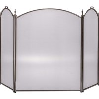 """Dagan Three Fold Pewter Arched Fireplace Screen, 52"""" x 32"""""""