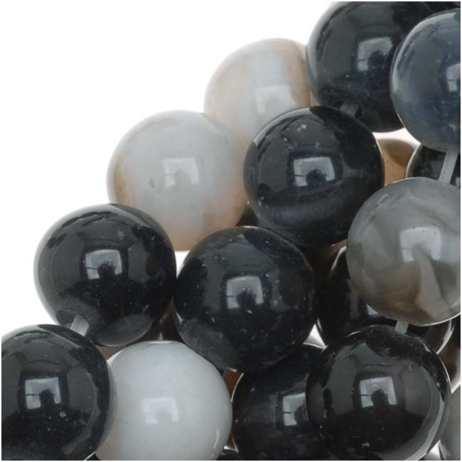 Black And White Botswana Agate 6mm Round Beads 15.5 Inch Strand