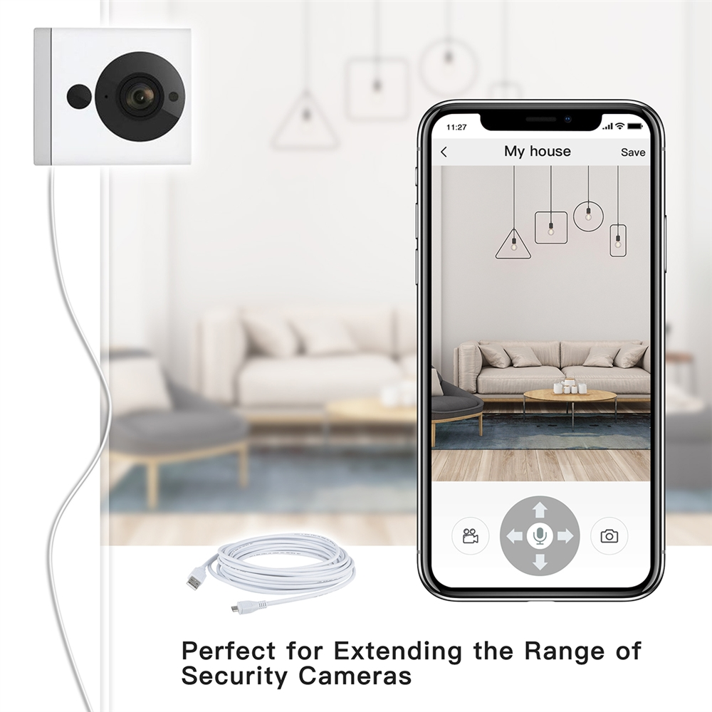 Power Extension Cable 25FT for WyzeCam,Wyze Cam Pan,Yi Camera,NestCam  Indoor,Netvue,Furbo Dog,Amazon Cloud Cam,Oculus Go, Blink,Micro USB  Charging and