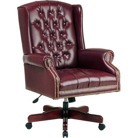 Deluxe High Back Traditional Executive Chair with Arms, Mahogany Finish