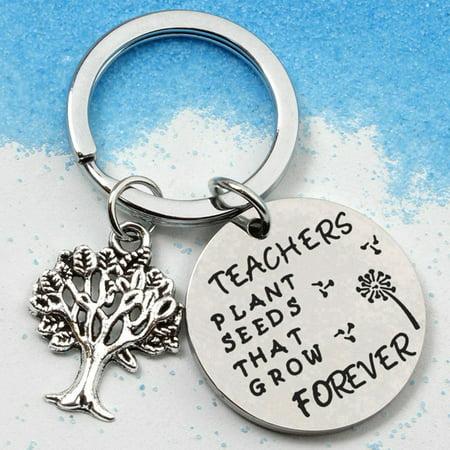 AkoaDa Teacher Key Chains Thanks Gift For Women Men,Teachers Appreciation Gift Key Chain Ring For Birthday Teacherand#39;S Day Thanksgiving Graduation -Teachers Plant Seeds That Grow Forever (Key Chain Plant)