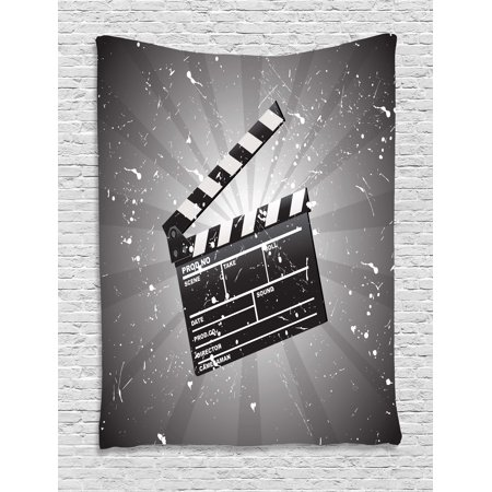 Movie Theater Tapestry, Clapper Board on Retro Backdrop with Grunge Effect Director Cut Scene, Wall Hanging for Bedroom Living Room Dorm Decor, 40W X 60L Inches, Grey Black White, by Ambesonne - Halloween Town Movie Theater Scene