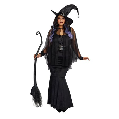 Dreamgirl Women's Plus-Size Bewitching Beauty Velvet Witch Costume Gown](Plus Size Womens Witch Costume)