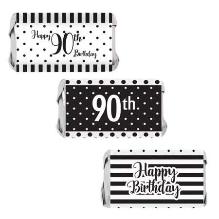 Black And White Striped Party Supplies (90th Birthday Candy Wrappers, 54 count - Black and White Stripe and Polka Dot Birthday Party Supplies - 54 Count Happy Birthday)