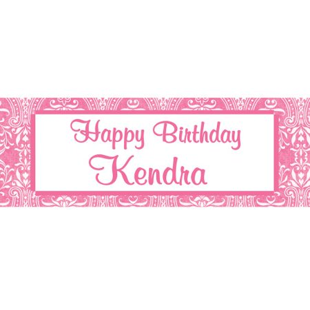 Pink Personalized Happy Birthday Banner for $<!---->