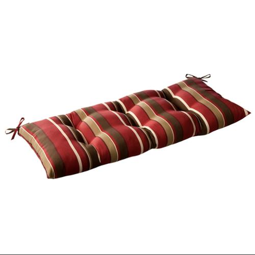 Outdoor Patio Furniture Tufted Bench Loveseat Cushion - Tropical Red Stripe